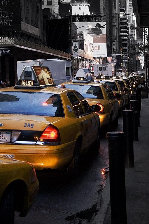 File de Taxis Newyorkais